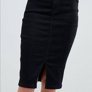 Denim Midi Skirt With Slit